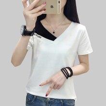 shintimes Fake Two Piece Tops Women T-Shirt Off Shoulder Tshirt Short Sleeve V-Neck Korea Fashion Summer Cotton Tee Shirt Femme