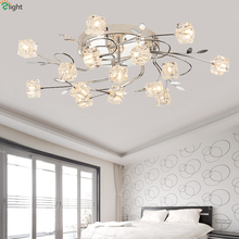 hot deal buy modern luxury crystal foyer g4 led ceiling chandelier creative chrome metal leaf bedroom/diningroom led chandelier lighting