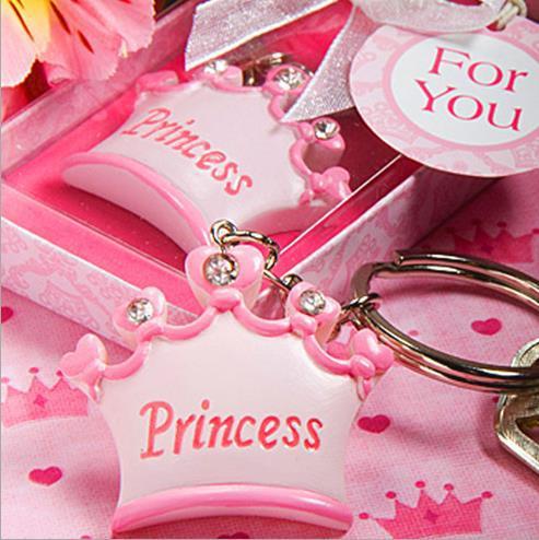 24pcs baby první den princezna císařská koruna klíč prsten Keychain dárková krabička Baby sprcha DIY oblíbené suvenýr svatební dárek pro hosty
