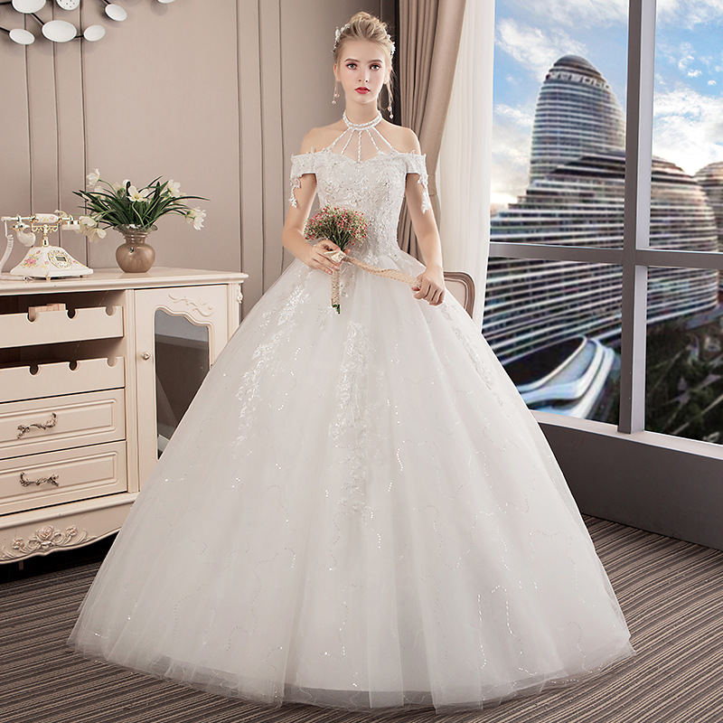 Elegant Vestido De Novia Lace Appliques Bride Bridal <font><b>Dresses</b></font> 2020 Princess <font><b>Wedding</b></font> <font><b>Dress</b></font> <font><b>SEXY</b></font> Halter Ball Gown Robe Mariage image