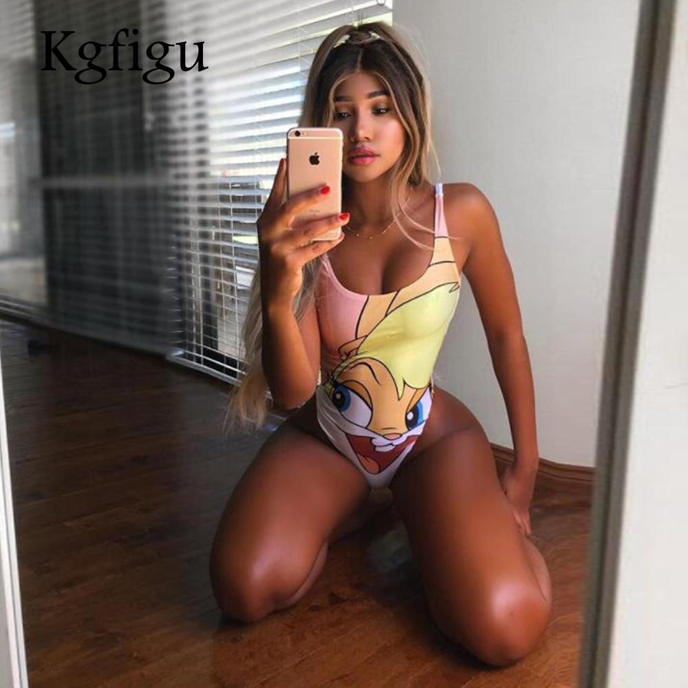 Summer women Cartoon rabbit bodysuits 2018 New Fashion Style Womens U neck print   jumpsuits   Sexy Skinny beach style Bodysuits