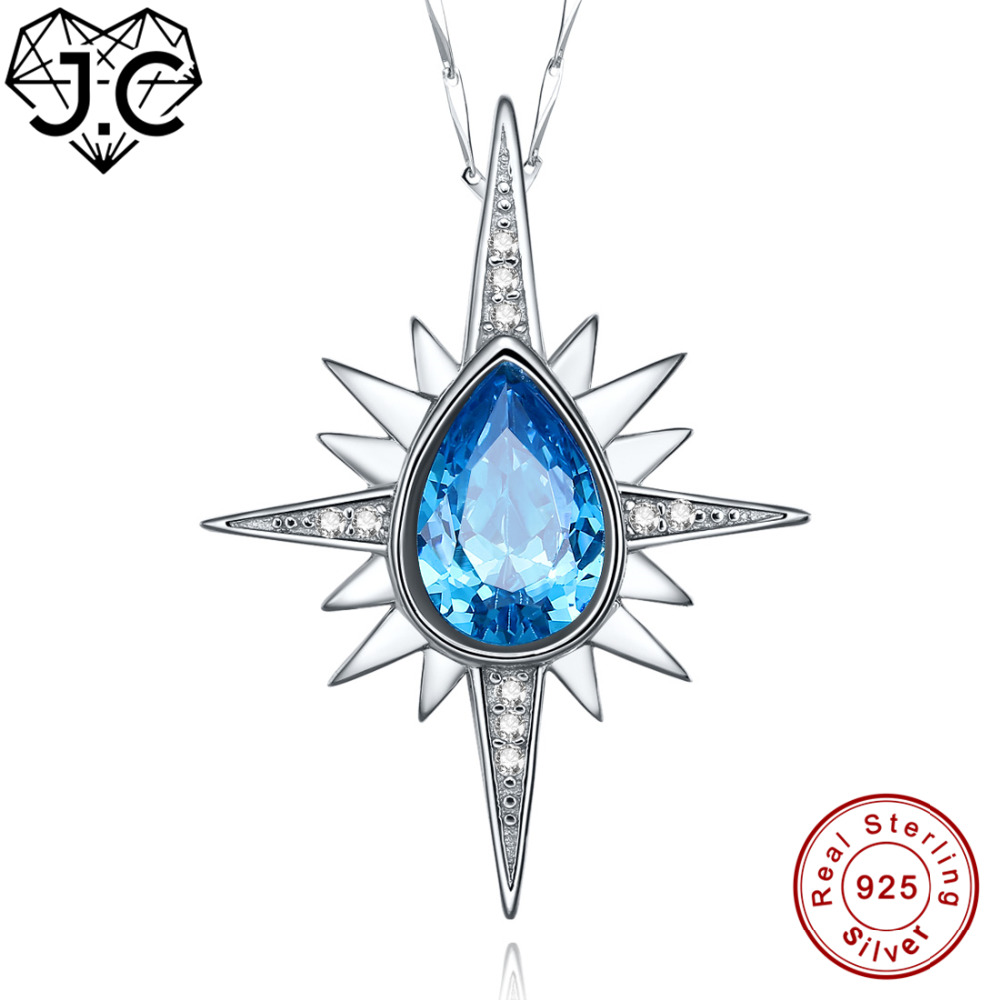 J.C Excellent Emerald & Blue White Topaz Necklace 925 Sterling Silver Pendant Fine Jewelry Women/Girl Party Dating Gift