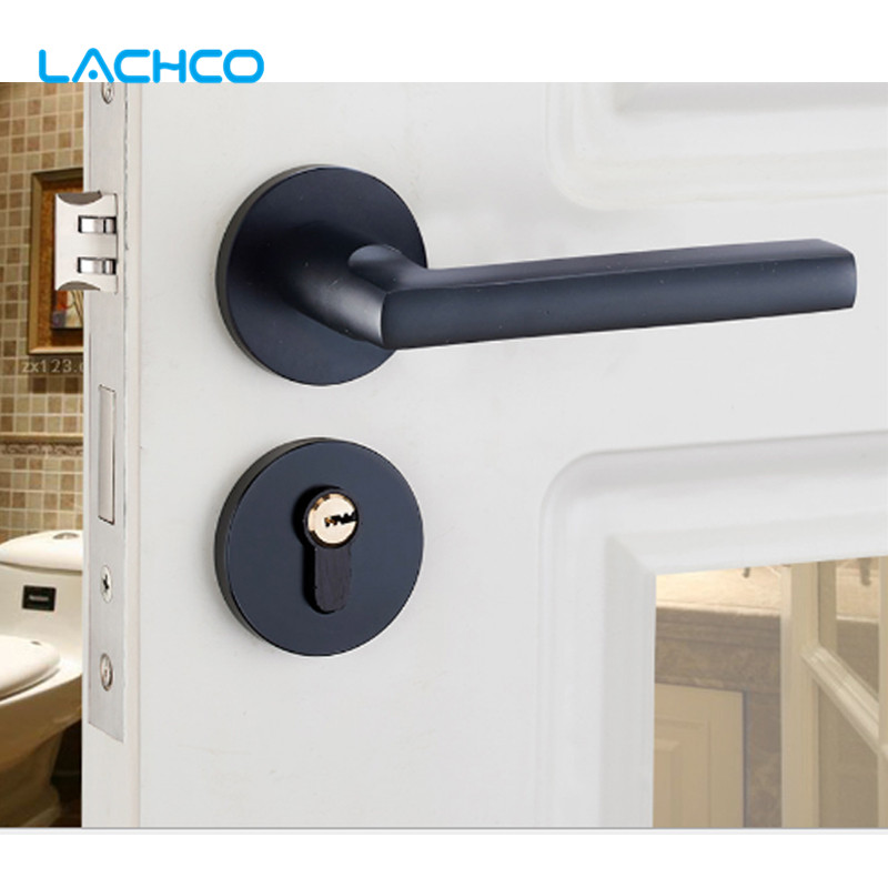 Black Space Aluminum Fission of Hand Lock Locks Door Knobs For Interior Door Room DL16001 factory interior door lock living room space aluminum mechanical lockset wholesale quality assuranced handle locks