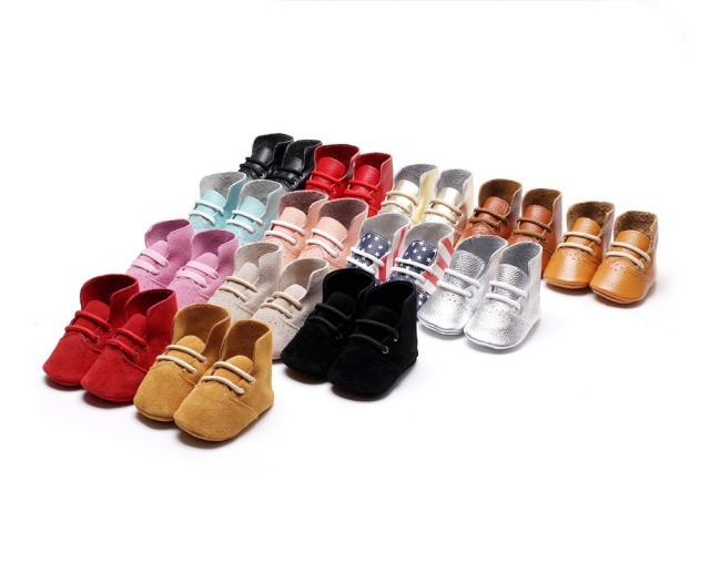 100 pairs/lot high heel Boots USA flag airhole Design genuine leather baby moccasins lace-up soft sole First walkers baby shoes