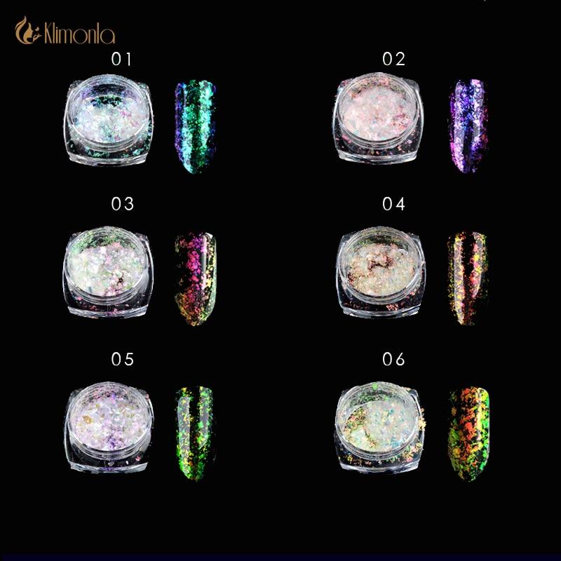 0,2 Gr/schachtel Multichrome Chameleon Flakes Nagel Holographische Laser Nail Art Chrome Pigment Pulver Schimmer Diy Nail Art Glitter Staub