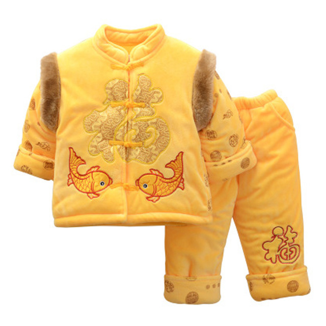 Long Sleeve Chinese Spring Festival Clothes New Year Costume Boys Girls Clothes Cotton-Padded Jacket Tang Traditional Clothing