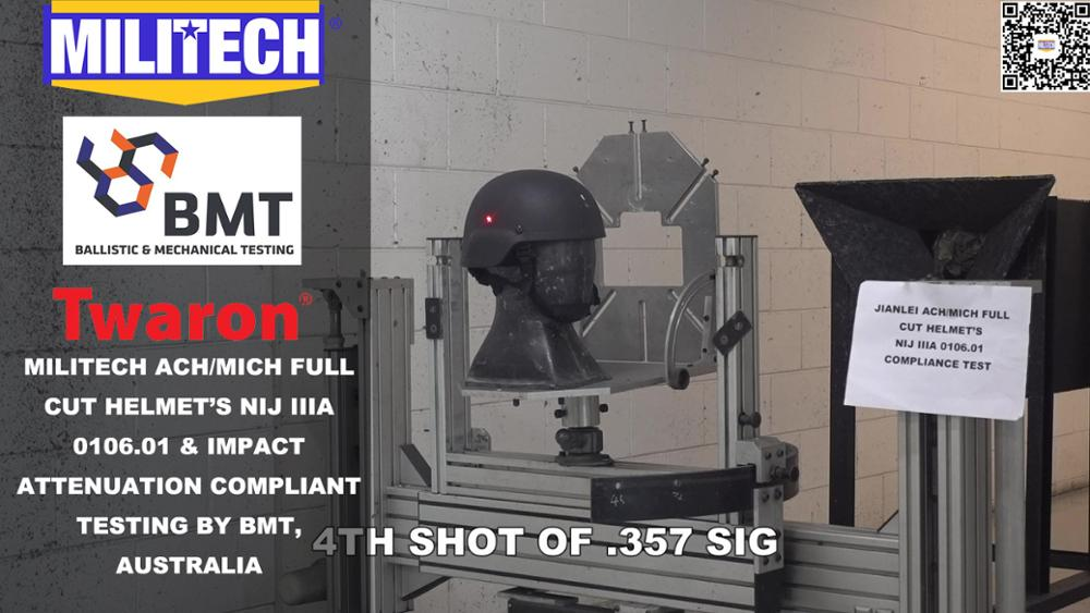 Testing Video--Militech ACH/MICH Helmet Official Lab NIJ IIIA 0106.01 Compliance Testing Video
