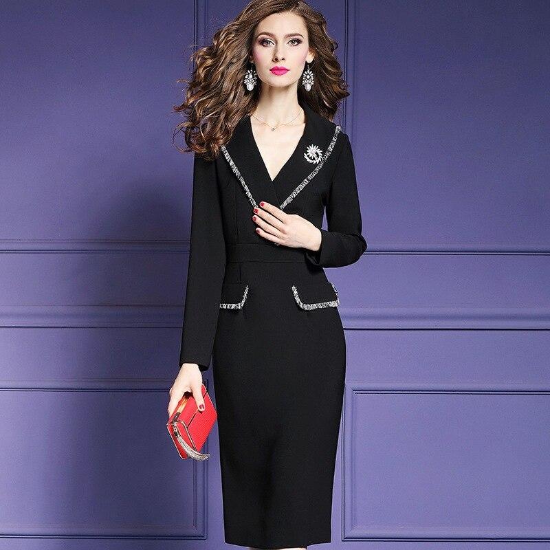 เซ็กซี่ดอกไม้ของแข็งชุดรันเวย์ 2018 ทำงานสำนักงานเสื้อผ้าผู้หญิงฤดูใบไม้ร่วง xxl 3xl ดินสอฤดูหนาวแขนยาวชุด-ใน ชุดเดรส จาก เสื้อผ้าสตรี บน AliExpress - 11.11_สิบเอ็ด สิบเอ็ดวันคนโสด 1