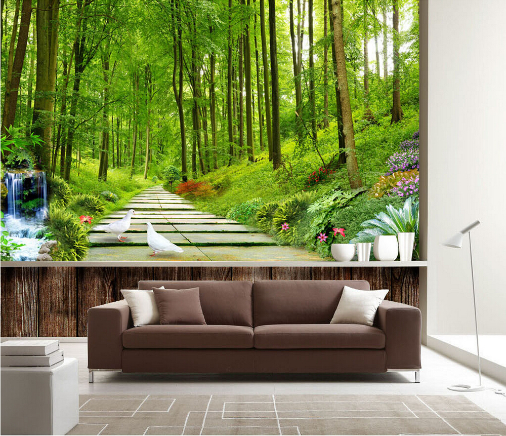 photo wallpaper nature scenery forest wallpaper mural entrance television background living room corridor 3D stereo mural custom wallpaper 3d expand space balcony scenery modern creative art wall mural entrance corridor background photo wallpaper
