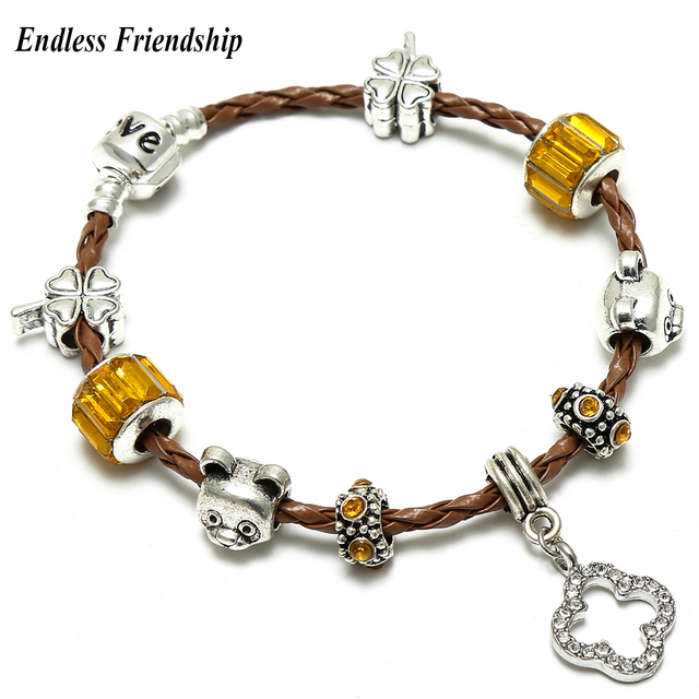 c4c93f9d4 best price pandora girl charm bracelet 47464 7e0e6; reduced best friend  clover dangle charm bracelet brown rope chain with bear beads pandora  bracelet for