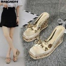 цена TINGHON Summer luxurious Rivets Rhinestone Wedge Slippers Platform High Heels Women Outside Shoes Wedge Slipper slides Sandals в интернет-магазинах