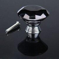 Classical 10Pcs Lot 30mm Diamond Shape Crystal Glass Drawer Cabinet Pull Handle Knob Black Free Shipping