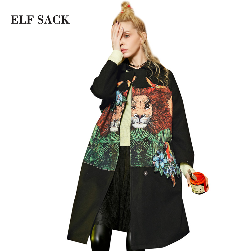 Эльф Sack W зима вышивка, объемная аппликация вышитые бисером пальто шерстяная Верхняя одежда Длинный дизайн