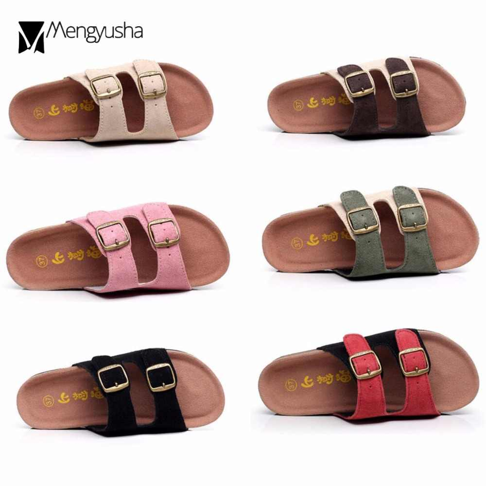 8bf58272eca genuine leather cork sandals 12 colors cow suede buckle slippers lovers flip  flops mixed color platform