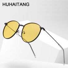 HUHAITANG Vintage Oval Sun Glasses Women Luxury Brand Metal Round Sunglasses Men Designer Outdoor Woman Yellow Sunglass For Mens