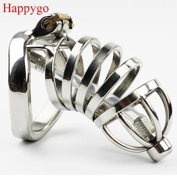Happygo stal nierdzewna Stealth Lock męskie urządzenie Chastity z cewnikiem cewki moczowej klatka dla kogutów pas dziewictwa pierścień penisa A276-1 tanie i dobre opinie STAINLESS STEEL Penis pierścionki 40mm 45mm 50mm 3 Size clamp Ring for choose