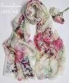 Шарфы теплый насыщенный шарф шелковый головной cachecol Бежевый шелк 100% fresh art маленький Цветочный Шаль большой кондиционирования воздуха летом пашмины