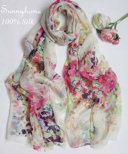 Scarves warm solid scarf silk head cachecol Beige 100% silk fresh art small Floral Shawl large summer air conditioning pashmina