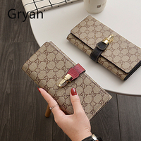 Women Genuine leather Wallet Female European American long style fashionable large capacity Holder Zipper Card Change Purse 274
