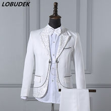 The Latest Fashion Sequins Suits Men's White Blazers Costume Nightclub Singer Host Stage Outfit Teams Chorus Performance Clothes(China)