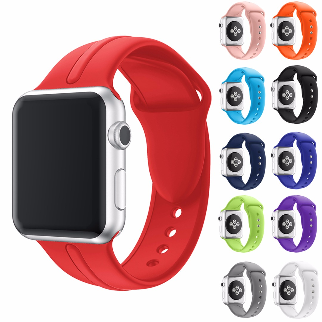 Shellhard 14 Colors Silicone Sport Wrist Band For iWatch Replacement Silicone Strap For Apple Watch 1/2/3 Series 38mm/42mm youkex silicone sport band for apple watch 38mm 42mm replacement sport bracelet wrist strap for iwatch series 1