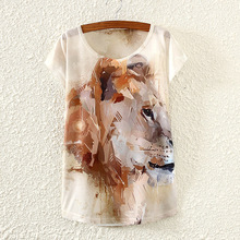 Abstract the brown lion oil painting logo women t shirt 2017 summer newf emale T shirt