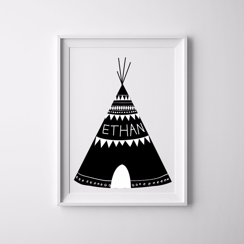 Factory Paint Decorating Color Filled Nurseries: Custom Name Teepee Print Wall Canvas Oil Painting, Western