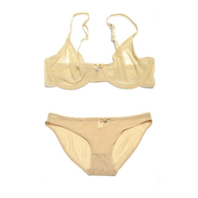 Wanita Renda Lingerie Celana Dalam Bra Underwire Penjualan Terpisah Set  Sexy Transparan Bergaris pakaian B C D E F 75 e434935219