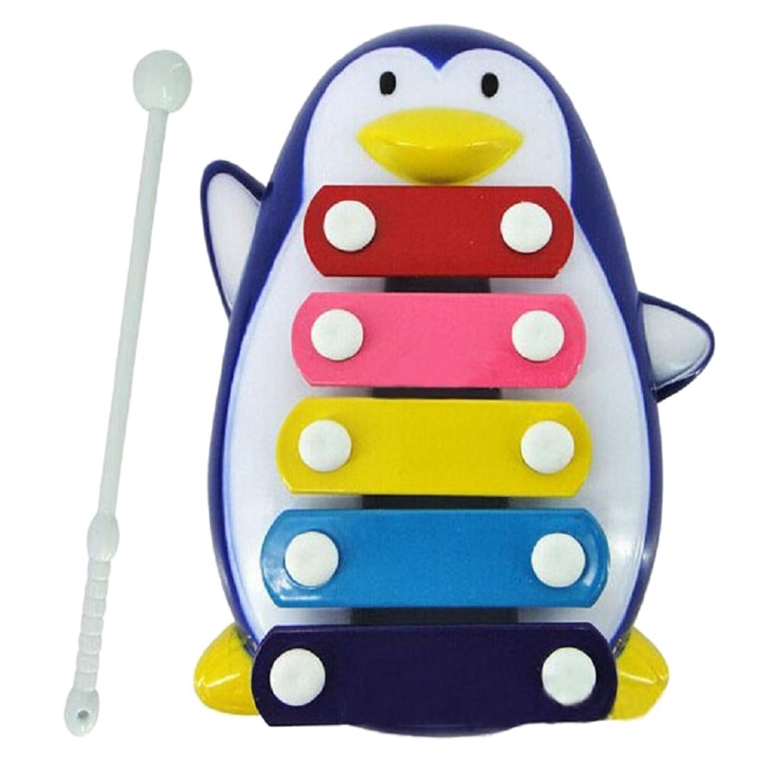 Дети Младенца 5-Note Ксилофон Музыкальные Игрушки Пингвин синий
