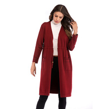 Women's Autumn Lace Long-sleeved Solid Color Knit Cardigan Long Slim Sweater Coat недорого