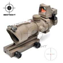 Deportes al aire libre Táctico Trijicon ACOG 4X32 Tan Real Fibra Óptica Iluminado Rojo w/RMR Micro Red Dot caza de Riflescope