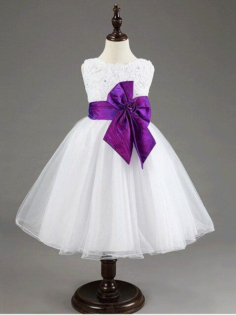 2016 Nuevo Vestidos de flores de niña con arco Fajas púrpura ...