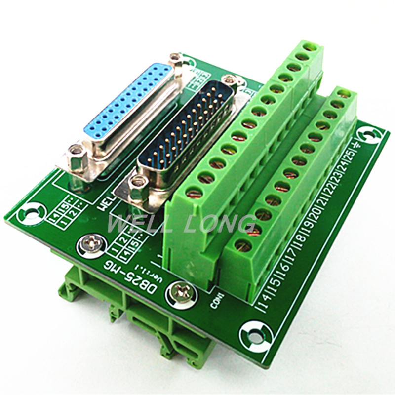 connector db25 d sub female male terminal port plastic cover data cable 232 485 422 screw nut D-SUB DB25 Male / Female Header Breakout Board, Terminal Block, Connector.
