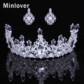 Minlover Silver Color Crystal Wedding Hair Accessories Crown and Earrings for Women Bridal Tiara Jewelry Sets HG053