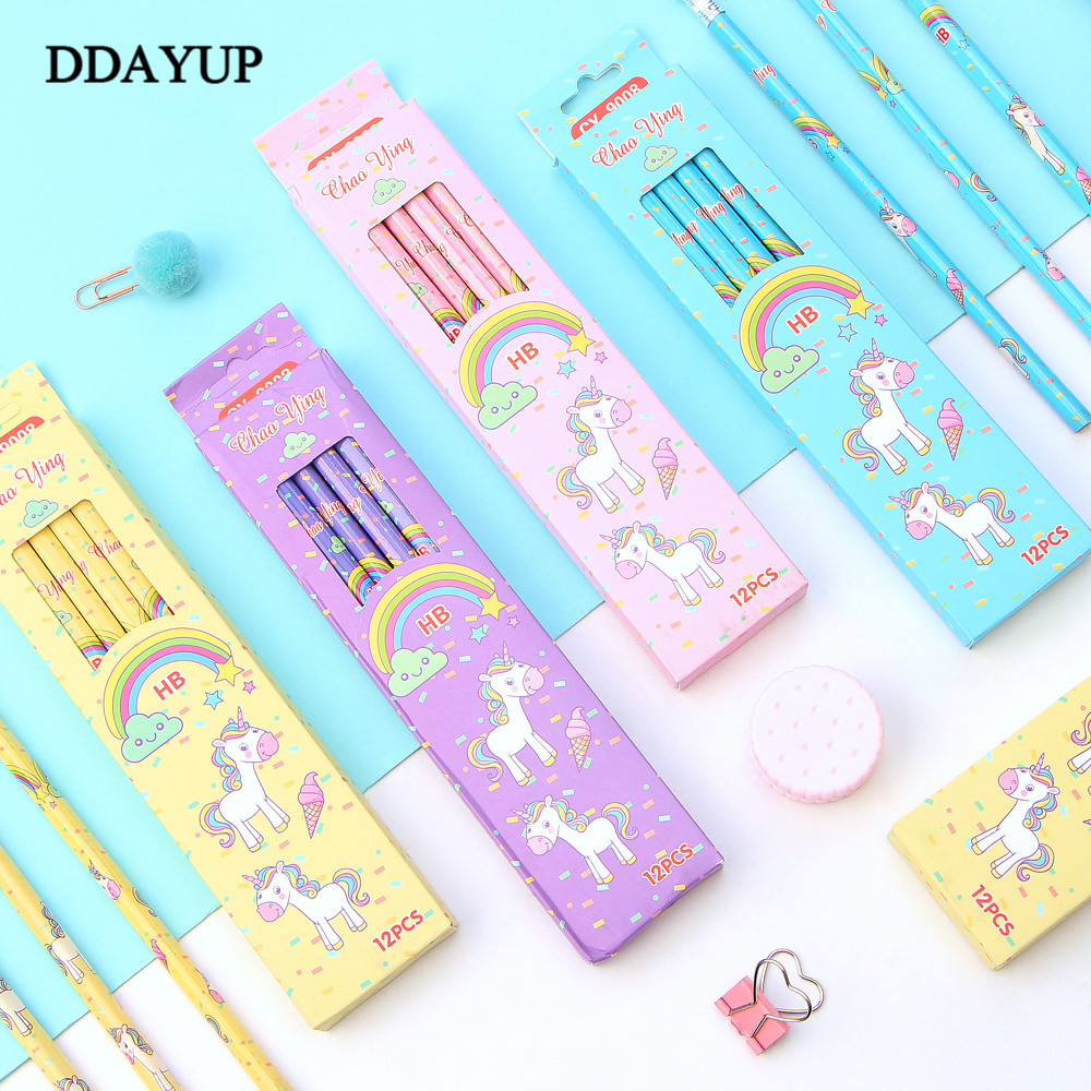 12Pcs/Set Cute Kawaii Cartoon Unicorn Pencil HB Sketch Items Drawing Stationery Student School Office Supplies For Kids Gift