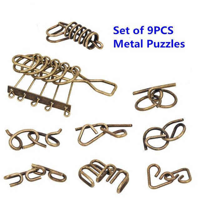 9PCS/12PCS per Set IQ Metal Wire Puzzle Mind Magic Brain Teaser Puzzles Game Solution for Adults Children