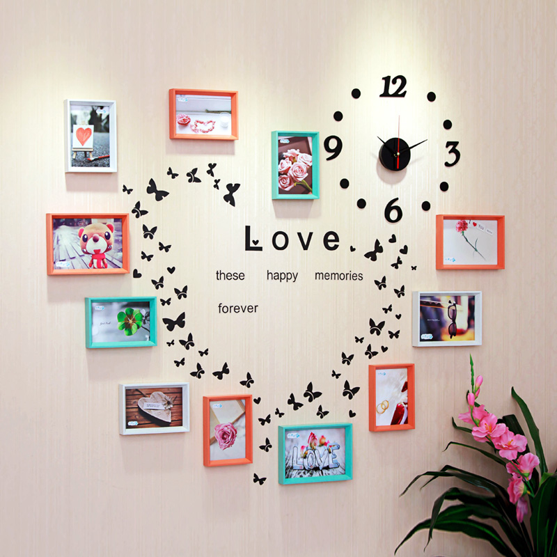 11pcs modern photo frame wall art decor combination wood clock home decoration frame picture - Wall picture clock decoration ...