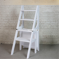 Multi functional Four Step Library Ladder Stool Solid Wood Ladder Chair Household Folding Wooden Chair Step Ladder Dining Chair