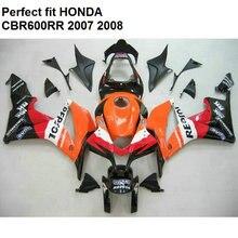 100% fit injection fairings for Honda CBR 600RR 07 08 fairing kit CBR600RR 2007 2008 orange black SZ73 motorcycle fairing kit for honda cbr600rr f5 07 08 cbr 600rr 2007 2008 cbr600 repsol red orange fairings 7gifts set hg55