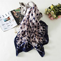 Luna&Dolphin Fashion Bandana Luxury Scarve Women Brand Silk Scarf Women Shawl Houndstooth 180X90CM Imitated Silk Fabric Hijab