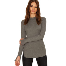 Women Sweater Solid Gray Crew Neck Long Sleeve Knitted Pullover Autumn Split Elegant Casual Basic Female Sweater For Wholesale