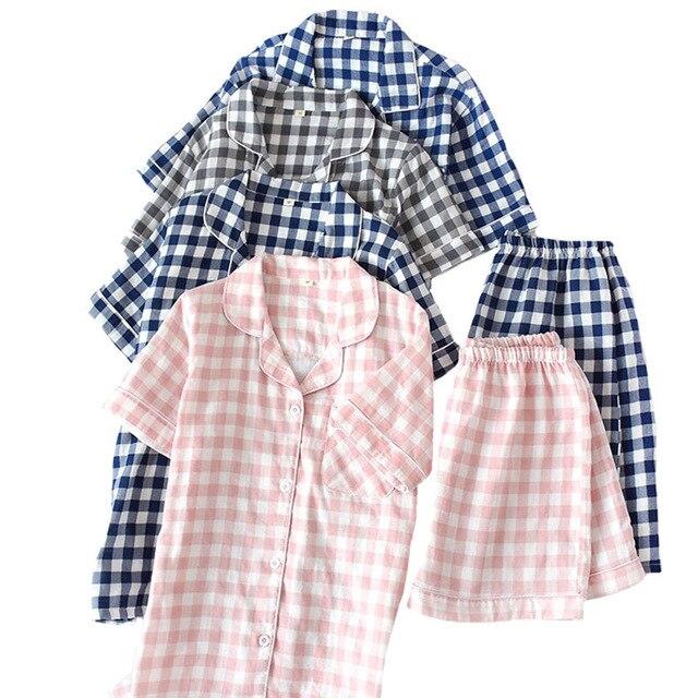 Sommer Neue Männer Und Frauen Pyjamas Set Einfache Stil Plaid Komfort Baumwolle Nachtwäsche Set Kurzarm + Shorts Homewear Casual tragen