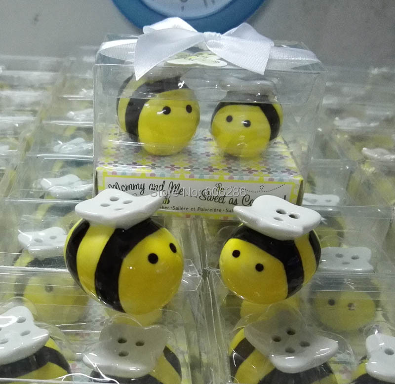 80sets/LOT baby shower favor Mommy and Me..Sweet as Can Bee Ceramic Salt and Pepper Shakers wedding favor souvenirs