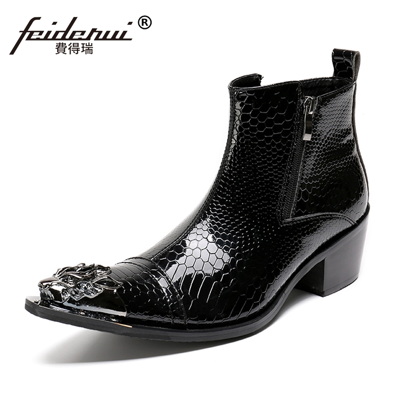 Plus Size Pointed Toe Zip High Heels Man Metal Tipped Riding Shoes Patent Leather Alligator Men's Punk Rocker Ankle Boots SL103