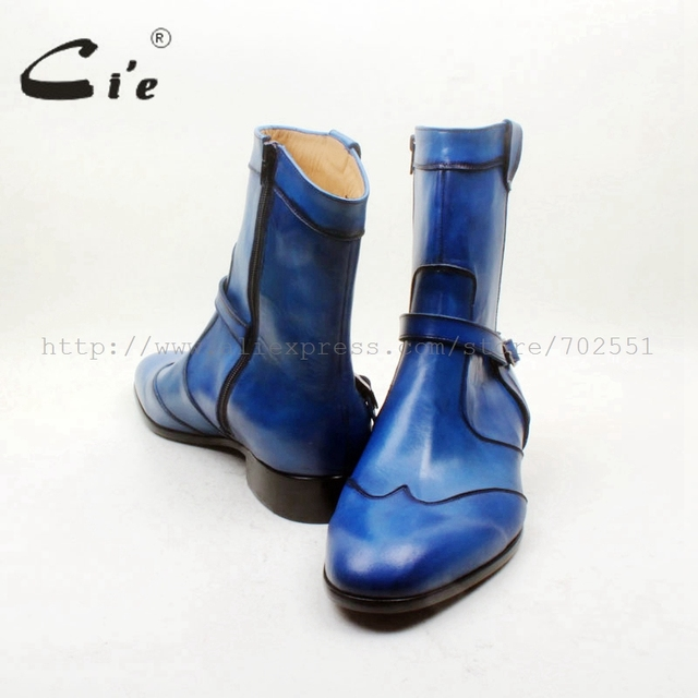 Ci'e – Round Toe W-tips Zipper Ankle Boot, Hand-Painted Blue, 100% Genuine Calf Leather