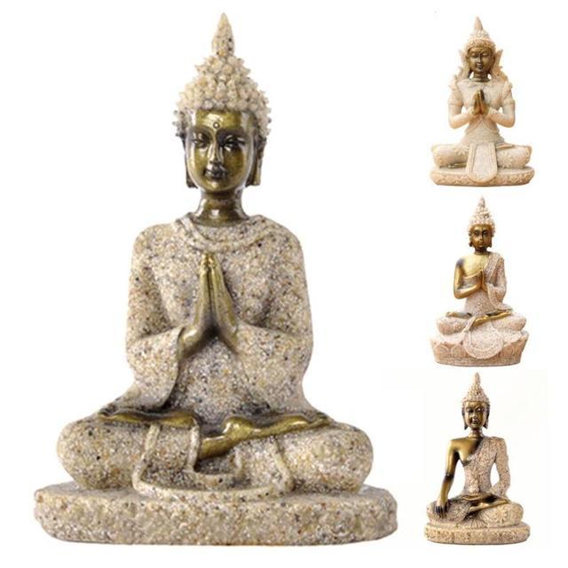 Arenito Natural Tailândia Estátua de Buda Sentado Resina Escultura  Artesanato Fengshui Sorte Mão Esculpida Estatueta Para 6f413c4dde5