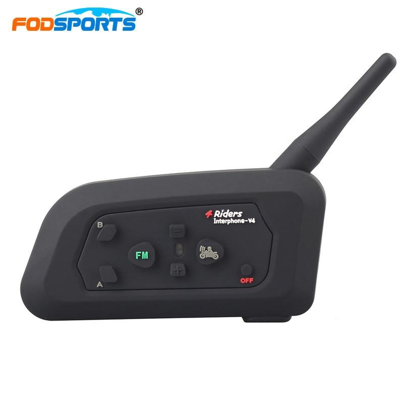 Fodsports V4 1200m Wireless BT Intercom Full Duplex Communication Headset 4 Riders Talking At The Same