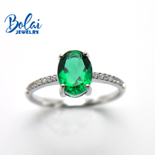 Bolaijewelry, Created green emerald oval 6*8mm ring 925 sterling silver fine jewelry for women best gift dupuy 6 8mm oval cut morganite ring