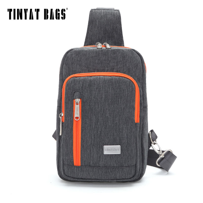 TINYAT 2018 Men Shoulder Sling Bag Waterproof Canvas Crossbody Messenger Bag Design Light Travel Chest Bag for Women Gray T601