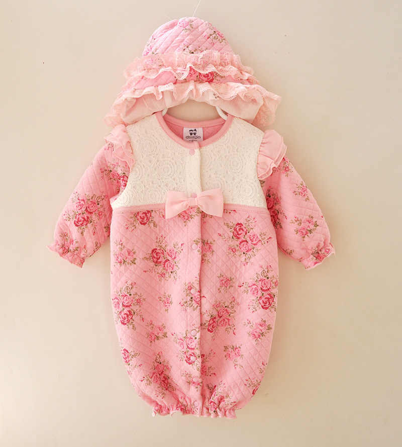 9bc7de7a0da3b Newborn Romper Suits Hello Kitty 0-3 Months New Born Baby Girl Rompers Set  Winter Clothes Infant Floral Jumpsuit Pink Romper